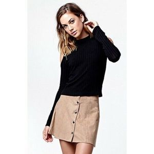 Kendall & Kylie Faux Suede Button Front Mini Skirt